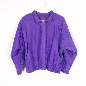 Vintage Silk Purple Quilted Track Bomber Jacket